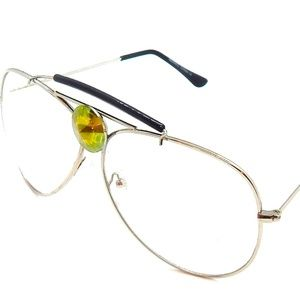 PANTHER POWER SAGE SILVER CLEAR AVIATOR GLASSES NW